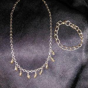 Vintage Gold Plated Necklace & Bracelet Set